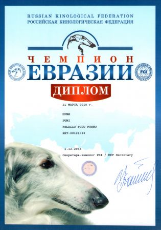 Champion of Eurasia Felallo-Fulu Forro